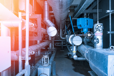 Piping and equipment in combine cycle power plant with metal tone Stok Fotoğraf