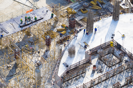 Construction site workers - aerial - Top View Stok Fotoğraf