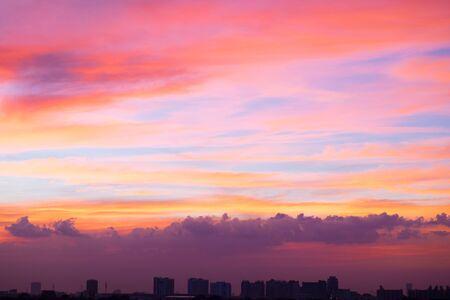 Beautiful twilight sky over the city