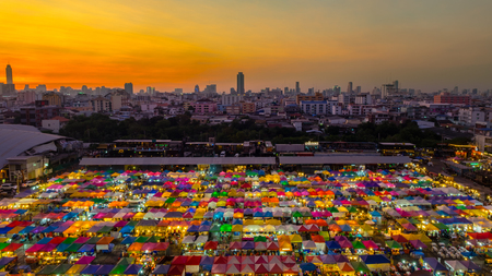 fleamarket: Aerial view of flea market with beautiful sky after sunset