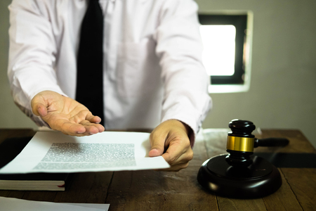 Lawyer working with insurance and customer in office. consultant lawyer, concept.