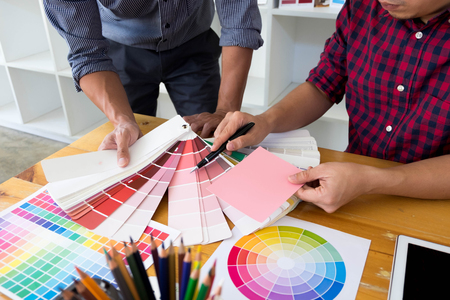 Graphic designers choose pink tones from the color bands to design ideas, creative designs, graphic designers.