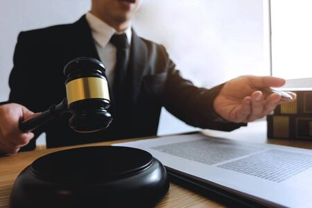 Lawyer working with contract client on the table in office. consultant lawyer, attorney, court judge, concept. Stock fotó