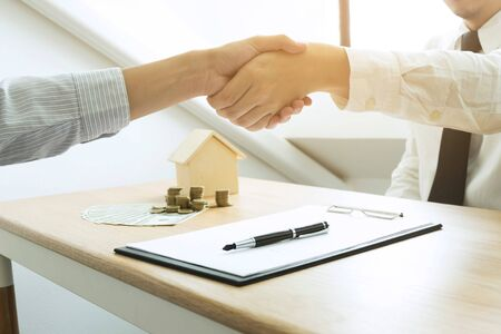 Business handshake. Business people shaking hands, finishing up a meeting,Success agreement negotiation.Business concept.