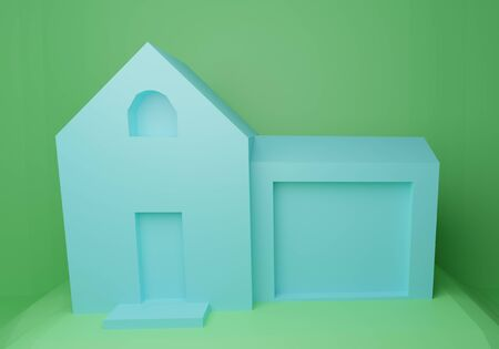 3d rendering of blue geometric house with green background for your disgn