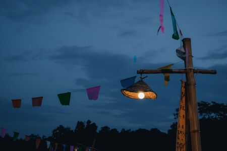 Close up of traditional lamp that brightens at midnight. Culture concept