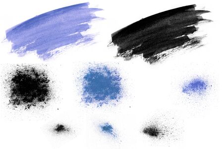 Abstract set of brush ink texture Japan style on a white background. Water color splash. Hand brush ink on white paper.