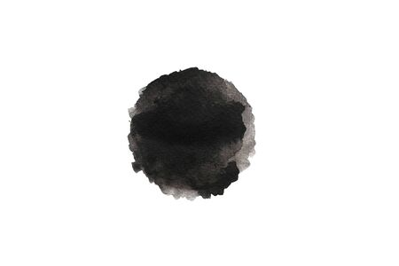 Abstract Black grey watercolor circle shape by hand painting on a white background. Watercolor brush stroke painted