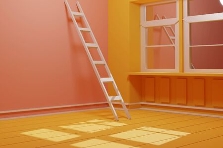 3d render of yellow room with white stair. Concept art. Animation room that has sunlight in the moring for your creative idea. Foto de archivo - 138300345