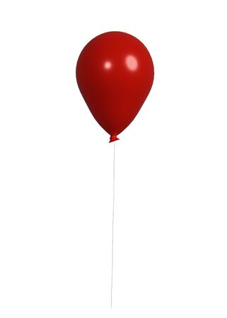 3d rendering of red balloon that floating for holiday celebration isolated on a white background. Happy Valentine's Day. Concept of love. Foto de archivo - 138474453