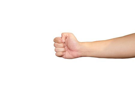 Close up of Asian men hands that fist punch to object isolated on white background. Clipping path.