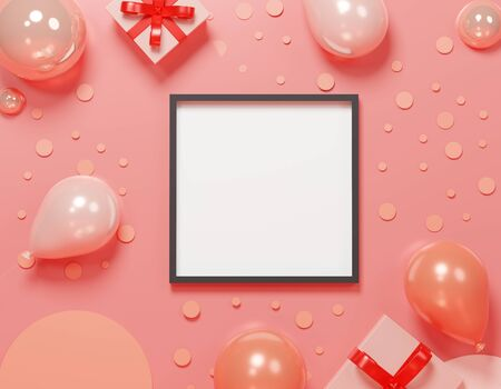 3d abstract minimal geometric forms. Colorful pastel balloon and gift box theme for your design. Blank frame for mock up. Happy Valentine's and anniversary Day. Festival background. Minimal concept Stockfoto - 138474485