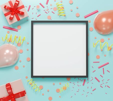 3d abstract minimal geometric forms. Colorful pastel balloon and gift box theme for your design. Blank frame for mock up. Happy Valentines and anniversary Day. Festival background. Minimal concept Stockfoto