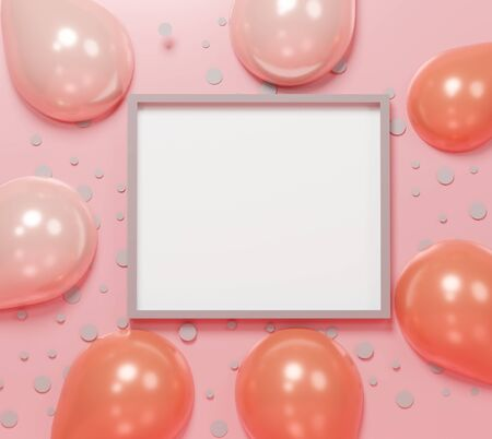 3d abstract minimal geometric forms. Colorful pastel balloon and gift box theme for your design. Blank frame for mock up. Happy Valentine's and anniversary Day. Festival background. Minimal concept Stockfoto - 138474482