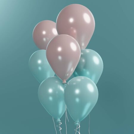 3d rendering of close up bunch of pink and blue balloons that floating on the air with blue background. Happy valentines and anniversary day. Stock fotó