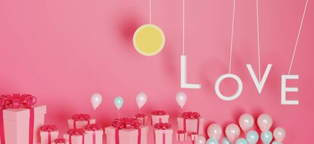3d abstract minimal geometric forms. Glossy luxury podium for your design. Pink gift box and Pink balloon on pastel background. Happy Valentine's Day. Love celebration concept.