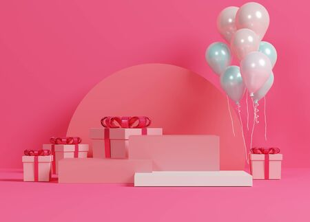 3d abstract minimal geometric forms. Glossy luxury podium for your design. Pink gift box, Teddy bear and Pink balloon on pastel background. Happy Valentine's Day. Love celebration concept.