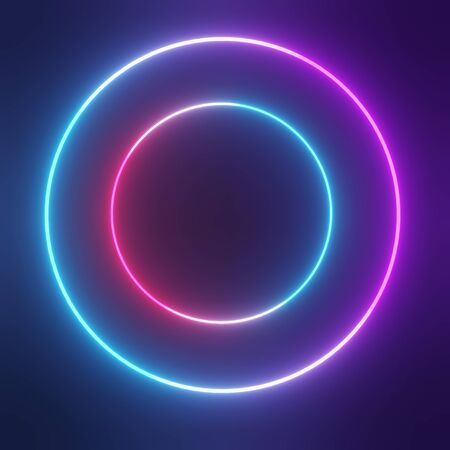 3d abstract minimal geometric forms. Neon light background. Blue ,pink and ultraviolet color that glowing in the darkness. Laser lines show. Ultra bright fashion trend concept. Banque d'images