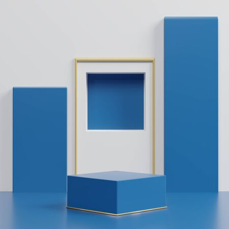 3d abstract minimal geometric forms. Glossy luxury podium for your design. Classic blue color of the year 2020. Fashion show stage,pedestal, shopfront. Empty scene for cosmetic show and mock up. Foto de archivo - 139861942