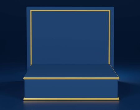 3d abstract minimal geometric forms. Glossy luxury podium for your design. Classic blue color of the year 2020. Fashion show stage,pedestal, shopfront. Empty scene for cosmetic show and mock up. Foto de archivo - 139861917