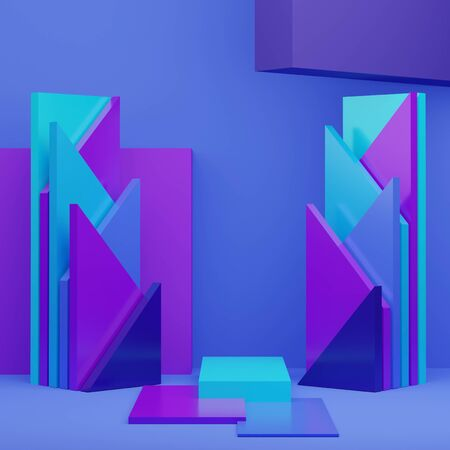 3d abstract minimal geometric forms. Glossy luxury podium for your design. Classic blue color of the year 2020. Fashion show stage,pedestal, shopfront. Empty scene for cosmetic show and mock up.
