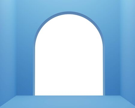 3d render of empty classic blue room with white arch frame for mock up. Color of the year 2020.