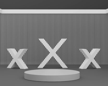 3d abstract minimal geometric forms. Glossy luxury podium for your design. Fashion show stage, shopfront. Empty scene for cosmetic. Minimalist Black theme background. Foto de archivo