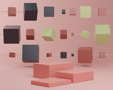 3d abstract minimalist geometric forms. Glossy luxury podium for your design in trendy. Fashion show stage,pedestal, shopfront with colorful theme. Empty scene for  mock up.