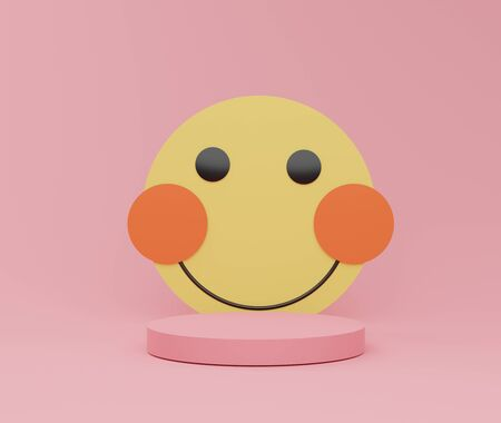 3d abstract minimalist geometric forms. Glossy luxury podium for your design with cute happy smile face emoji. Fashion show stage,pedestal, with colorful theme. Empty scene for  mock up.