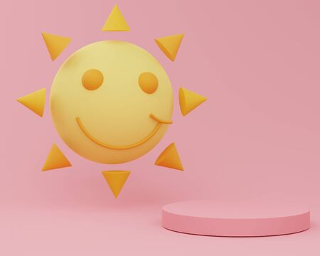 3d abstract minimalist geometric forms. Glossy luxury podium for your design with cute sun that floating and smile. Fashion show stage,pedestal, with colorful theme. Empty scene for  mock up.