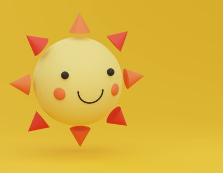 3d abstract minimalist geometric forms. Happy sun that  floating on the air with copy space. Emoji natural idea concept.