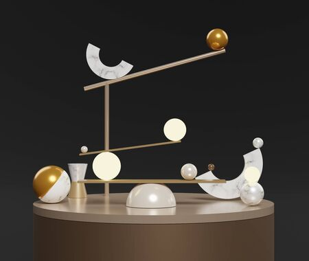 3d abstract simple geometric forms that including of marble sphere, cylinder and half circle on black background. Art decorative elements.  Sophisticated and Minimalist idea concept.