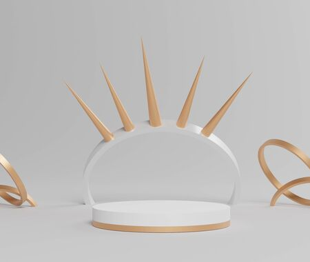 3d abstract minimal geometric forms. Glossy white luxury podium with Crown scene and simple geometric forms for your design . Art decor elements. Sophisticated and Minimalist idea concept.