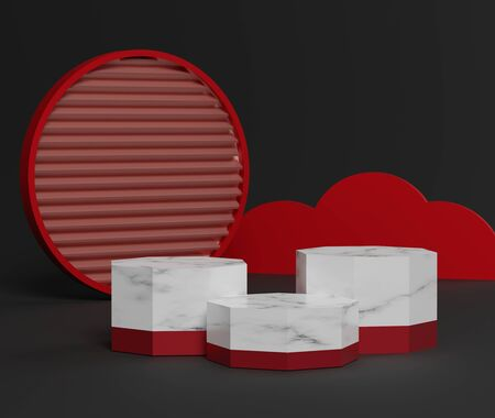 3d abstract minimal geometric forms. Glossy white marble and black red luxury podium with simple geometric forms for your design . Art decor elements. Sophisticated and Minimalist idea concept.