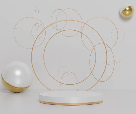 3d abstract minimal geometric forms. Glossy luxury podium with simple golden circular rings and geometric forms for your design . Art decor elements. Sophisticated and Minimalist idea concept.