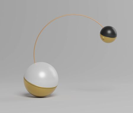 3d abstract simple geometric forms that show two balls holding by half circle of counterbalance. Art decorative elements.  Sophisticated and Minimalist idea concept.