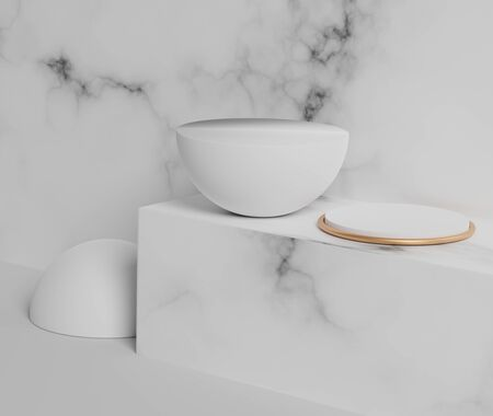 3d abstract minimal geometric forms. Glossy white marble luxury podium with simple geometric forms for your design . Art decor elements. Sophisticated and Minimalist idea concept. Foto de archivo