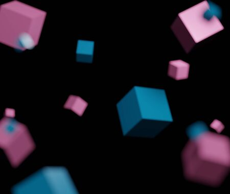 3d abstract minimalist geometric forms. Blurred cube that floating isolated on black background for mock up. Visual reality(VR) idea concept.