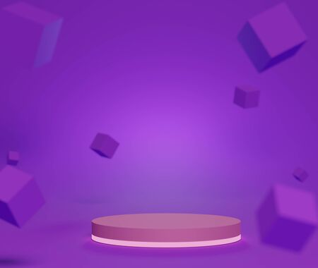 3d abstract minimalist geometric forms. Neon scene with cube that floating on the air and podium for your design. Fashion show stage,pedestal, shopfront with purple theme. Empty scene for  mock up.