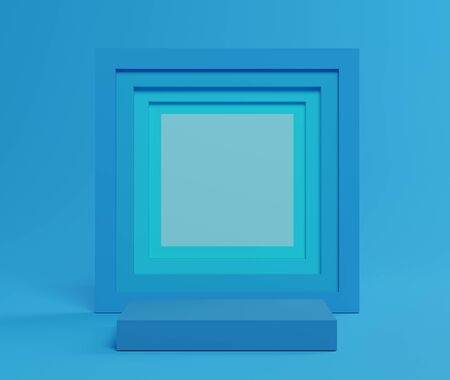 3d abstract minimalist geometric forms. Blue gradients square luxury podium for your design in trendy. Fashion show stage,pedestal, shopfront with colorful theme. Empty scene for  mock up.