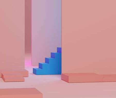 3d abstract minimalist geometric forms. Pink gradients luxury podium and blue stair for your design in trendy. Empty scene for  mock up.