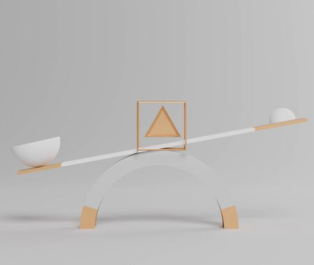 3d abstract simple geometric forms that show the luxury balance scale between two balls including big size and small size. Art decorative elements. Minimalist idea concept. Foto de archivo