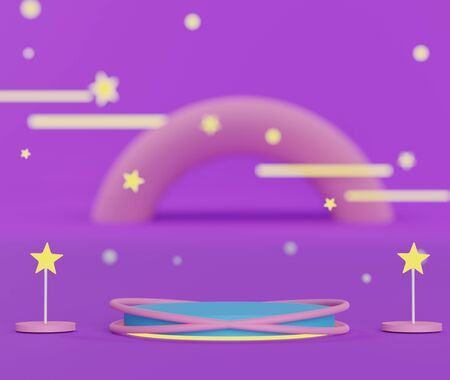 3d abstract geometric forms. Colorful of luxury podium with bokeh light stars for your design. Fashion show stage,pedestal, shopfront with wonderland theme. Empty scene for  mock up.