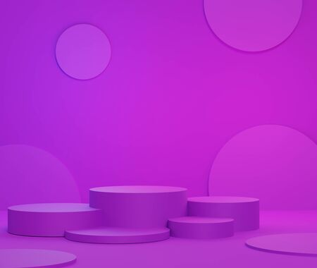 3d abstract minimalist geometric forms. Purple gradients luxury podium for your design in trendy. Fashion show stage,pedestal, shopfront with colorful theme. Empty scene for  mock up.