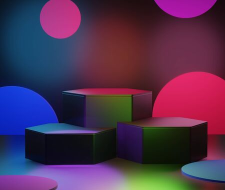 3d abstract minimal geometric forms. RGB CYMK light podium for your design. Fashion show stage, shopfront. Empty scene for cosmetic. Minimalist Black theme background. Gaming idea concept.