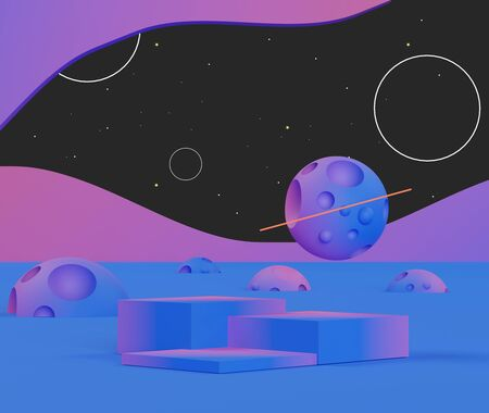 3d abstract geometric forms. ์Neon tone of luxury podium with bokeh light stars for your design. Fashion show stage,pedestal, shopfront with Galaxy theme. Empty scene for  mock up.