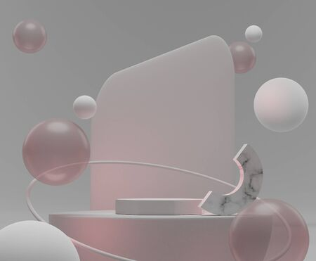 3d abstract minimal geometric forms. White marble luxury podium with balls that floating on the air and pink light for your design . Art decor elements. Sophisticated and Minimalist idea concept.