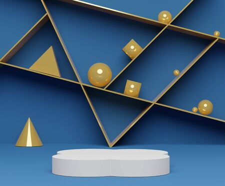3d abstract minimalist geometric forms. Classic Blue gradients square luxury podium for your design with golden cube and ball background. Empty scene for  mock up.