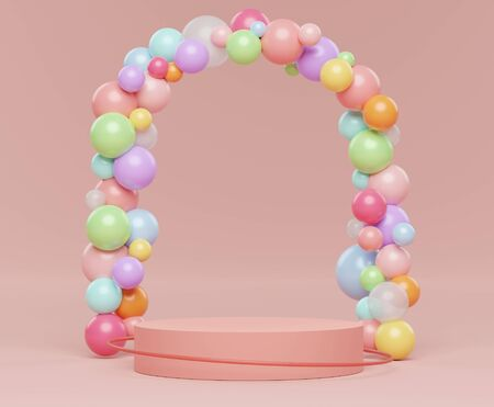 3d abstract minimalist geometric forms. Pastel gradients luxury podium for your design with various color of ball. Fashion show stage,pedestal, shopfront with colorful theme. Empty scene for  mock up.