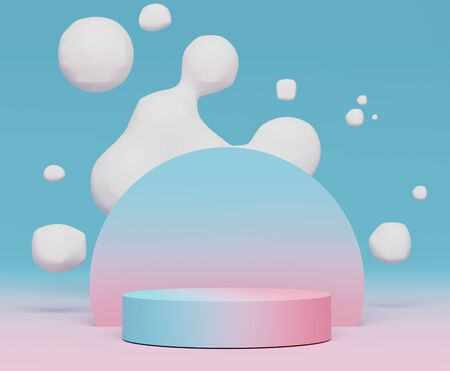 3d abstract minimalist geometric forms. Blue Pink gradients luxury podium for your design with white balloon or soap bubbles. Fashion show stage,pedestal, shopfront with colorful theme.